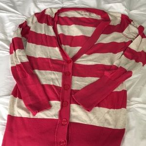 Mossimo Pink and Off-White Striped Cardigan